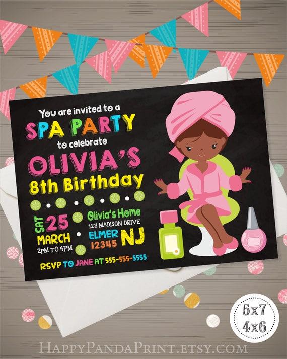 Spa party invitation spa party birthday invitation african stopboris Gallery