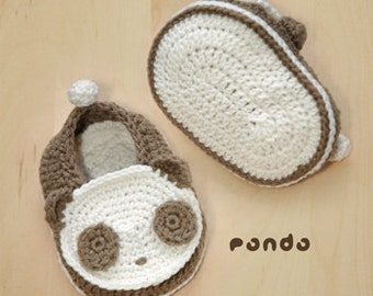 Crochet Pattern Baby Crochet Pattern Panda Baby Booties Panda Preemie Socks Animal Shoes Panda Applique Newborn Baby Slippers Black White