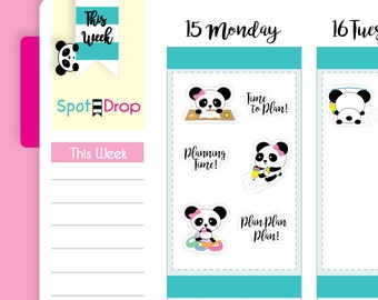 Panda Bear Planning Stickers, Planner Stickers, Panda Planner Stickers // PB10