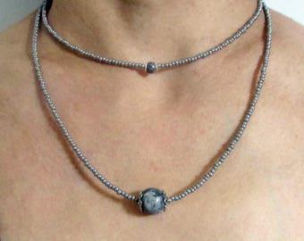 Double Jasper Grey Necklace