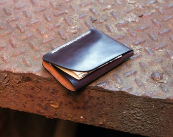 Minimalist Leather Wallet, Leather ID wallet, Leather card holder, Leather Flap Wallet