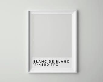 Blanc de Blanc, Printable, Scandinavian Art, Minimalist Art, Tumblr Room Decor, Pantone, Poster, Paris, Digital Art, Parisian Art, Artwork