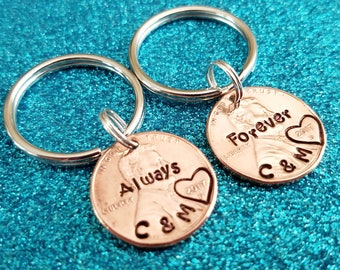 Couples anniversary Gift - Anniversary Gift for him, husband anniversary, boyfriend gift, penny keychains, his and hers, personalized penny