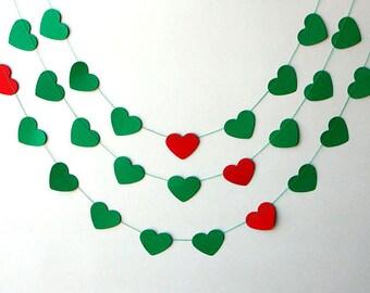 Valentines Day Decor, Valentines Day, Valentines garland, Green Red Garland, Wedding Decorations, Paper heart garland, KCO-3053