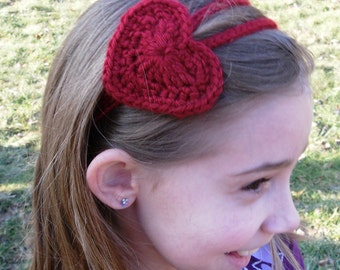 Crochet Heart Headband Two Strand--Any Size