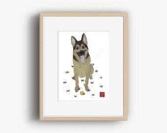 German Shepherd Dog Art, Shepherd Pet Art, German Shepherd Gift, Shepherd Wall Art