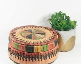 Vintage Woven Grass Basket - Lidded Basket - Bohemian Decor
