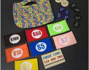 Felt money playset including purse
