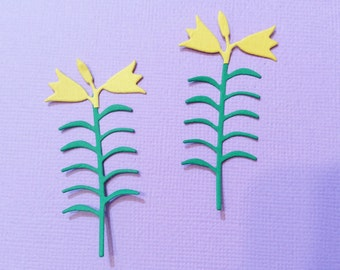 6 Easter Lilies, Handmade, Sizzix, Green, Yellow, Cards, Scrapbooking,
