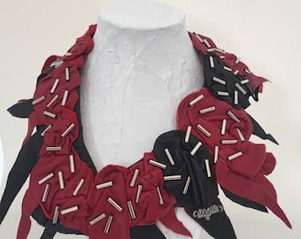 Black and Red recycled leather necklace