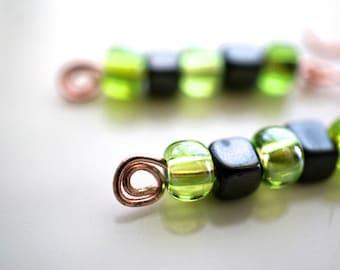Copper, Green Glass, Hematite Earrings