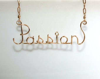 Passion * Wire Words * Wire Word Art * Word Necklace * Love * Love Jewelry * Love Necklace * Wire Name Necklace * Passion Necklace
