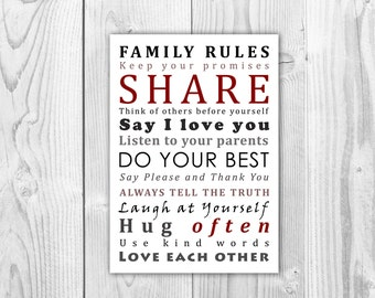 Family Rules Word Art, Family Rules Sign, House Rules, Wall Decor.