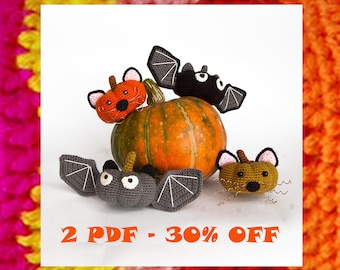 Amigurumi Halloween Pattern. Crochet Pumpkin bats Vs cats. DIY Halloween toy. Crochet Discount set 30% OFF. Amigurumis pattern. Autumn Fall