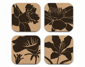 DAFFODIL LILY FLOWERS Floral Design Cork Coasters Hostess Gift Home Decor