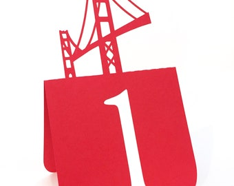 Golden Gate Bridge Table Numbers Set 1 to 25 Wedding, SF wedding, san francisco wedding