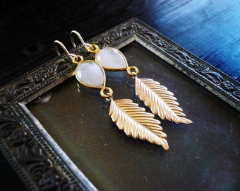 Moonstone and Leaf Earrings in Gold Filled - Tear Drop Rainbow Moonstone Gemstone and Gold Earrings, Gold Feather Earrings. Boho Earrings.