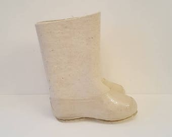 White Russian valenki felt boots handmade traditional Russian village shoes virgin wool unused