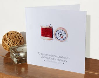 2nd wedding cotton anniversary card - personalised | two years married | Handmade 2nd anniversary card | Personalised husband wife card gift