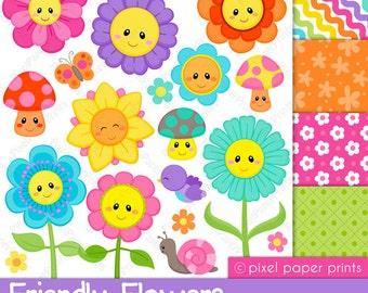 Flower clipart - FLOWER FRIENDS - Digital paper and clip art set - Flower clipart