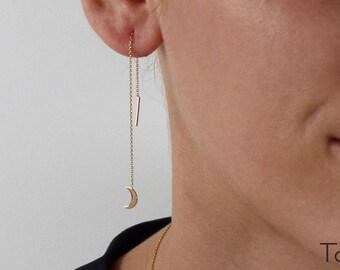 Threader Moon Earrings, Long Gold Earrings, Threader Earrings, Gold Chain Earrings, Dainty Jewelry, Romantic Gift, Minimalist Gift For Her