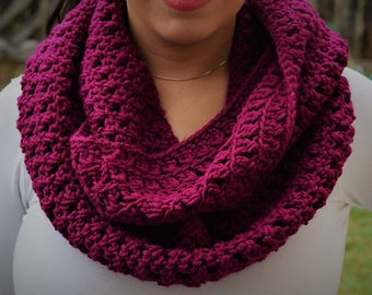 Hand knit magenta infinity scarf