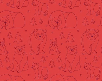 Brown Bear Doodles on Red from Eric Carle's Beary Happy Collection from Andover Fabrics