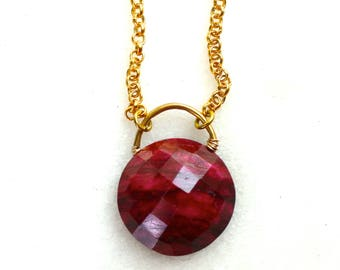 Polkadot Faceted Raw Ruby, Dotty Gemstone Necklace, 14kg filll...