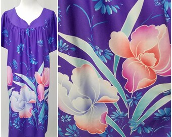 Vtg MCM Purple & Pink Floral Print Caftan, Purple Mrs Roper Maxi Dress Muumuu, Polyester Cover Up, Floral Beach Pool Party House Dress, M/Lg
