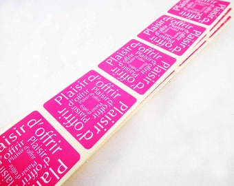 """ET06 - set of 5 labels self sticky """"Pleasure of giving"""" pink and white square"""