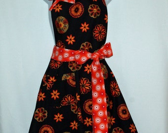 Black and Orange Apron,  Ladies Personalized With Name, Trendy, Pretty Chic Hostess, No Shipping Charge,  Ready To Ship TODAY, AGFT 372