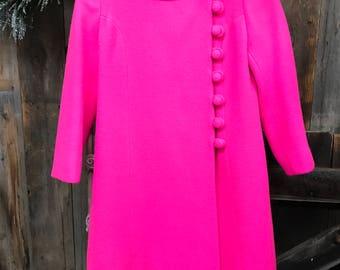 60's Hot Pink Wool Coat