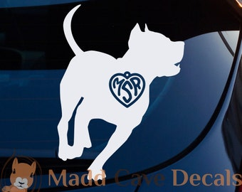 Pit Bull Monogram Heart Decal Car Window Dog Breed Puppy