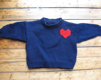 Hand-Knit Children's Navy Blue Heart Pullover Size 2