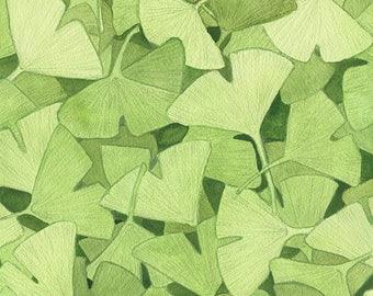Ginkgo - giclee print - botanical art, leaf art print, falling leaves print, Japanese art, forest art, tree art, nature art, nature print