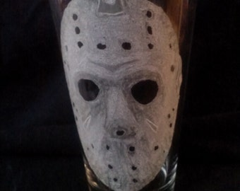 Jason's mask from Friday the 13th Hand Engraved on Conical Pint Glass (made to order)