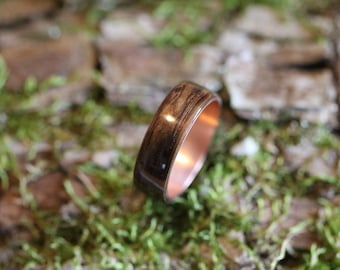 Eucalyptus ring with inner ring of copper