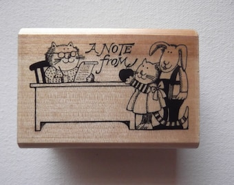 A Note From... 2 Cats & Bunny Kidstamps RARE 1990 Marilyn Hafner Rubber Stamp, Wood Mounted, Vintage Rubber Stamp, Rare Stamp