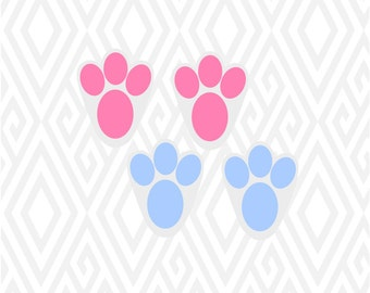 Easter Bunny Paws Footprints Cuttable Design In SVG DXF PNG Ai Pdf Eps
