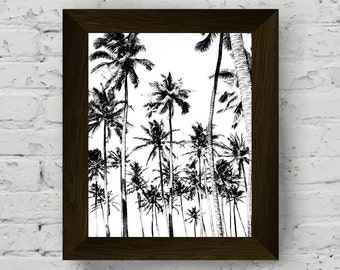 black and white palm tree wall art, tropical poster, palm tree print, instant digital download, printable artwork, modern contemporary art