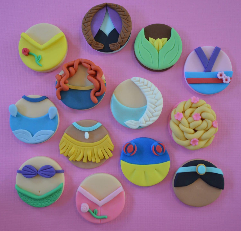 12 Disney Princess Inspired Cupcake Toppers-Fondant
