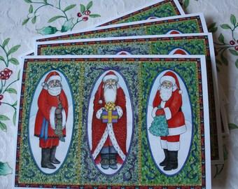 Three Santas (pack of 4 cards w/envelopes)