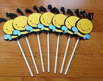 Set of 12 Bumble Bee Birthday CUSTOM Cupcake Toppers