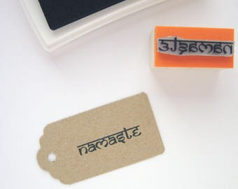 NAMASTE Rubber Stamp. Indian stamp. Yoga rubber stamp. Greeting stamp. Hindu stamp. Sanskrit stamp. Indian rubber stamp. Nepal Rubber Stamp.