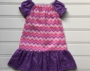 Toddler Summer Dress, Toddler Girl dress, Girl Summer Dress, Little Girl Dress, Girl Peasant Dress, Toddler Pink Dress, 2T ready to ship