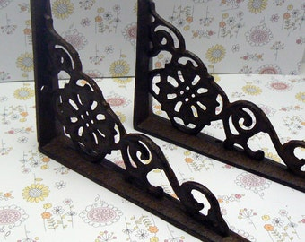 "Wall Bracket Shelf Ornate 4 5/8"" x 6 3/8"" Brace All Natural Raw Cast Iron Floral Brackets Do it Yourself 1 Pair (2 individual brackets)"