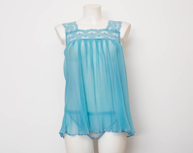 Nos vintage 70's nightgown top blue lace Size S