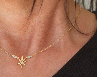 Cannabis necklace with tiny cz - marijuana charm - stoner girl - leaf- weed necklace - cannabis friendly - stoner gifts