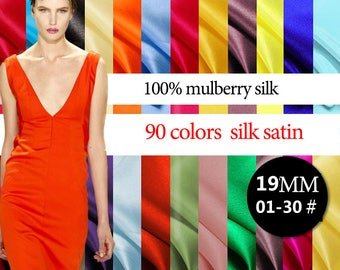 19mm 114cm width 90 colors 100% mulberry silk satin / charmeuse by half meter (01-30#) DF996