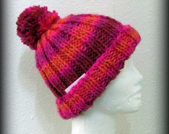 Hand knit hat - knit hat - pom pom knit hat - red knit hat - pink knit hat - striped knit hat - knit beanie - knit acrylic hat - pom pom